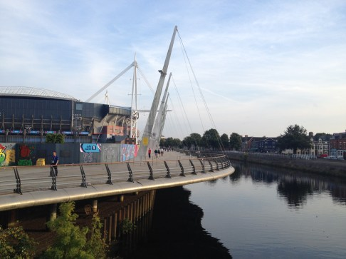 Millenium Stadium , Cardiff by the river Taff