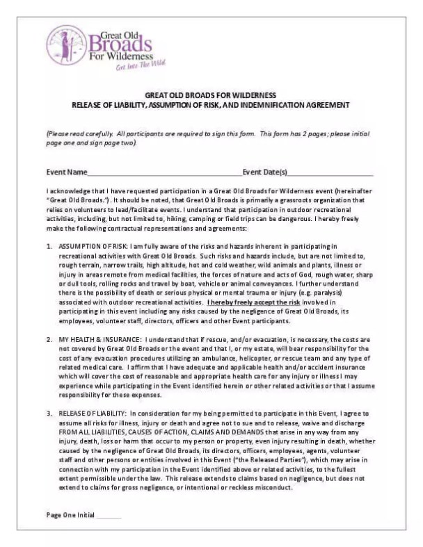 Liability waiver form july 2015 great old broads for wilderness liability waiver form july 2015 thecheapjerseys Choice Image