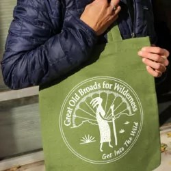 """Hemp tote with the """"Great Old Broads for Wilderness, Get into the wild"""" logo"""