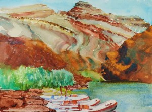 Painting of rocks, river, and boats by Suze Woolf