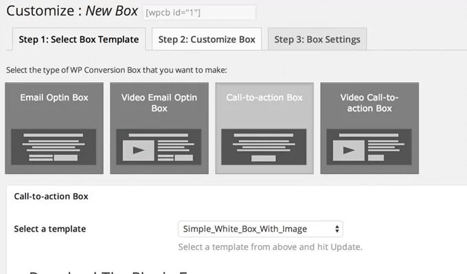 WP Optin Boxes Email Video and Call to Action