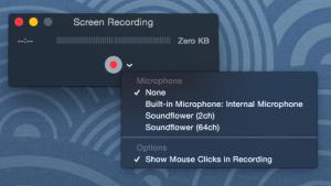 Screen Recording Options Menu