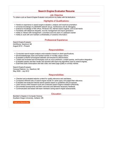 Search Engine Evaluator Resume Great Sample Resume