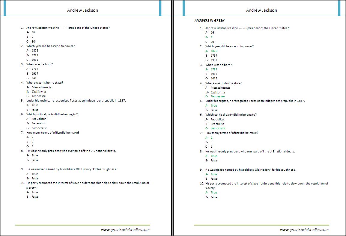 Presitents Worksheet