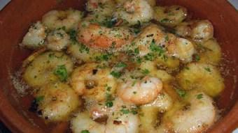 Gambas dish with prawns