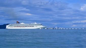 Cruise ship sailing by