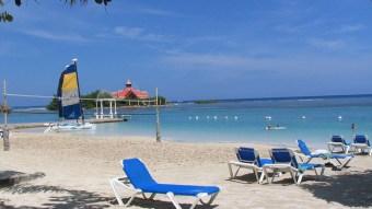 Blue lounge chair on Montego Bay beach