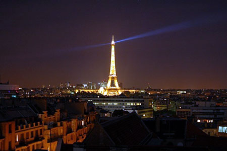 Paris by night, from a balcony in Neuilly-sur-Seine