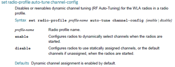 Radio Profile Auto Tune channel config