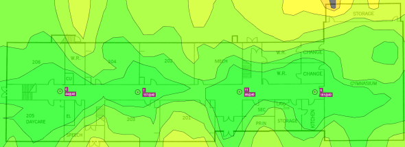 First floor signal strength map - initial survey