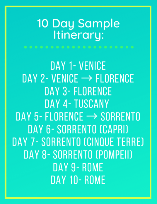 italy ten days, itinerary, schedule