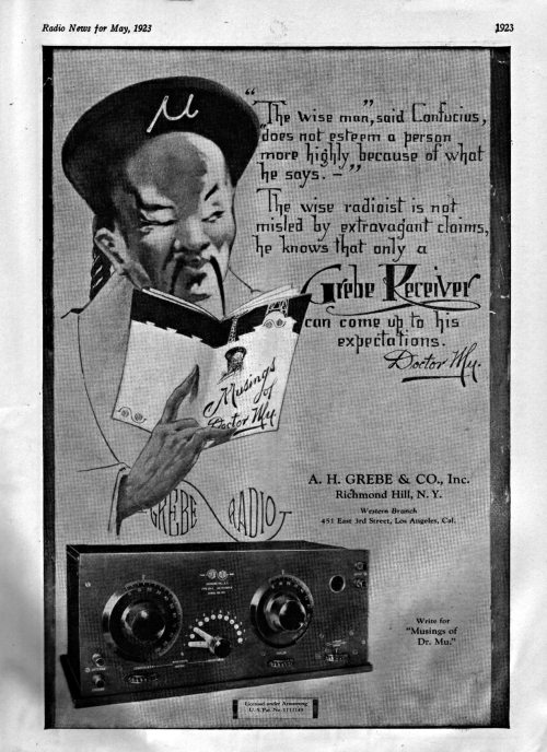 Doctor Mu Grebe Radio Ad, May, 1923