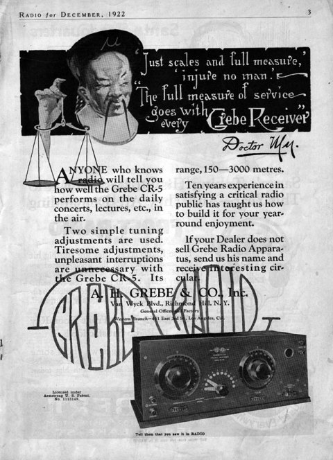Grebe CR-5 Receiver Ad, Radio News, December, 1922