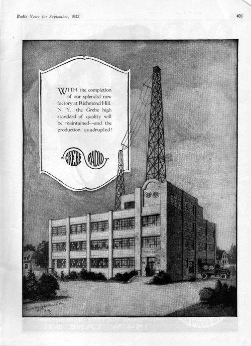 Grebe Radio Factory, Richmond Hill, Long Island, N.Y., September, 1922