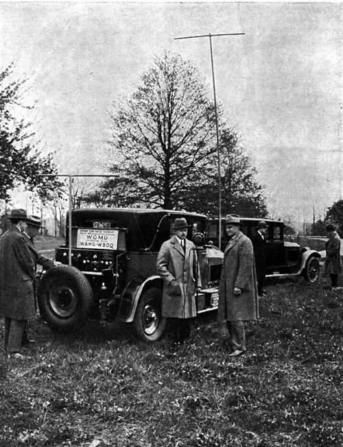 A. H. Grebe launching his WGMU mobile short-wave radio station