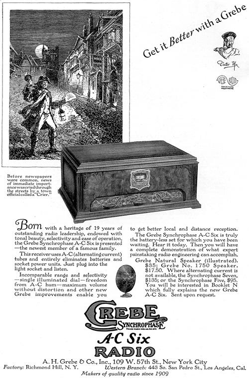 Grebe A-C Six Radio print advertisement