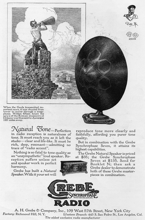 Grebe Waited radio print advertisement