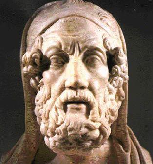 El autor de la Odisea, en un busto romano, copia de un original griego del siglo IV a.C. Museos Capitolinos, Roma.