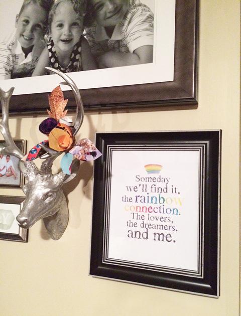 rainbow print hanging