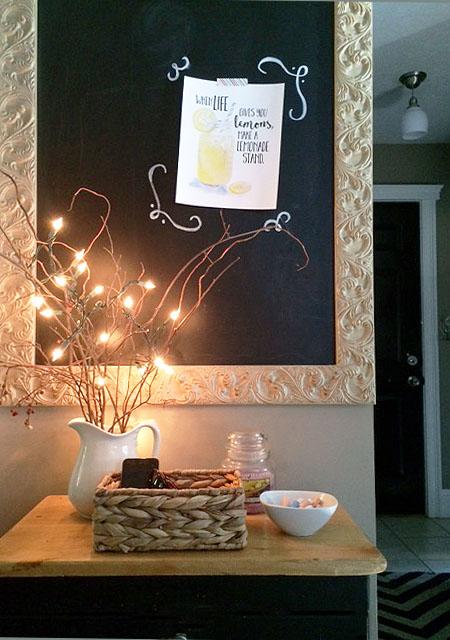 lemonade art print hanging with washi tape