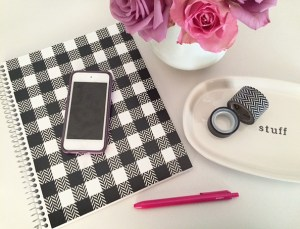 DIY buffalo plaid notebook