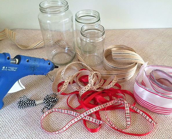 recycled decorative jars_ribbons