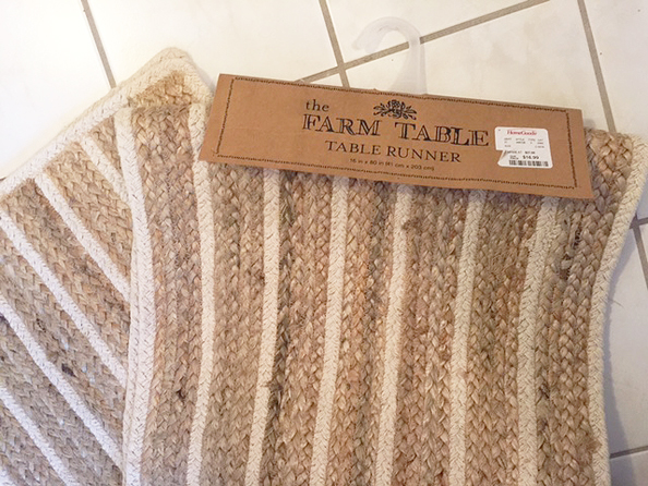 bath mat from table runner before