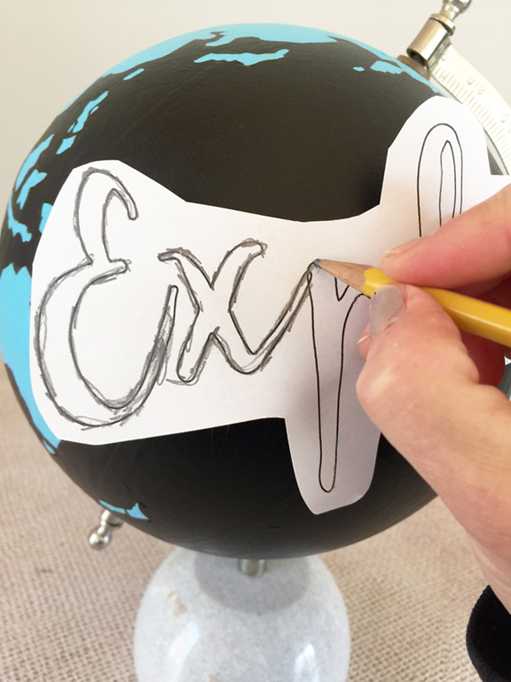 paint an old globe and get tips on how to transfer type