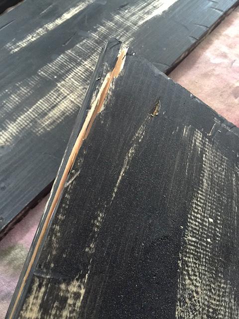 bookshelf wood banged up