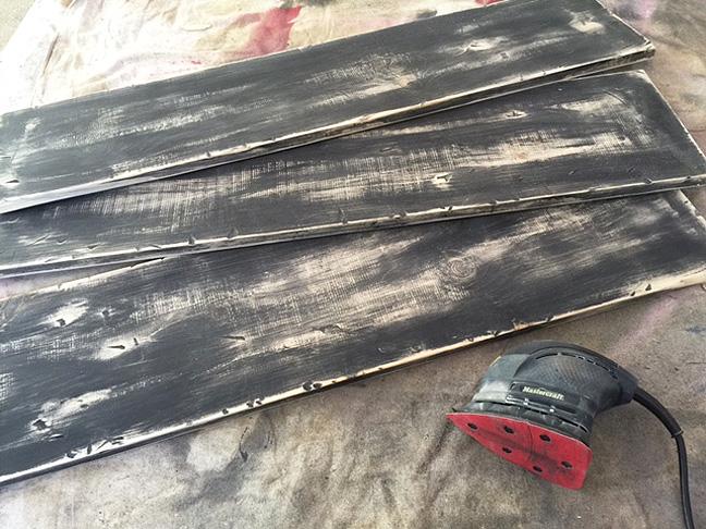 bookshelf wood black sanded