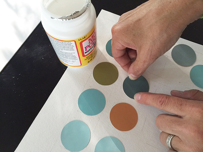 paint chip circles_glueing