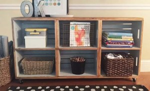 DIY wood crate rolling cart