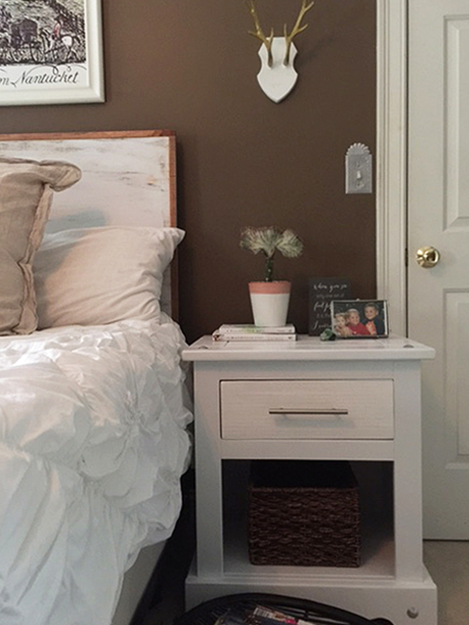 One room challenge bedroom makeover with DIY headboard and refinished bedside tables