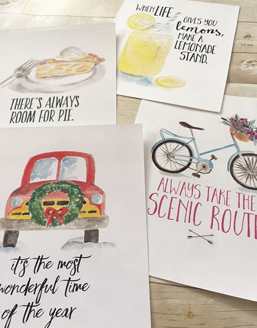 monthly art prints designed with watercolor artwork and inspiring quotes