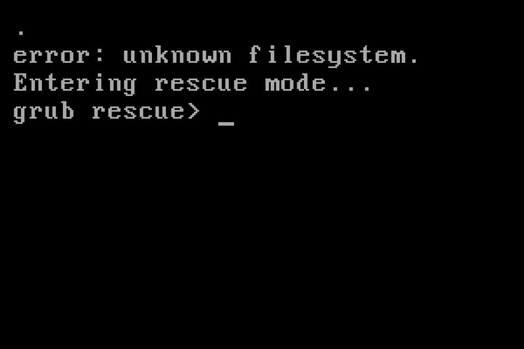 Errore nella shell GRUB rescue