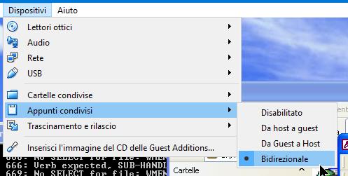 """Funzione """"Appunti Condivisi"""" su VirtualBox"""
