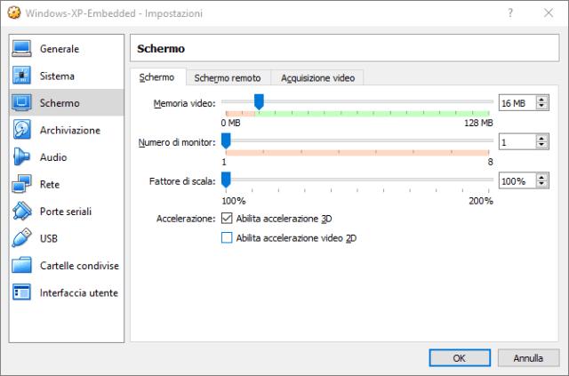 Abilita accelerazione 3D in virtualbox