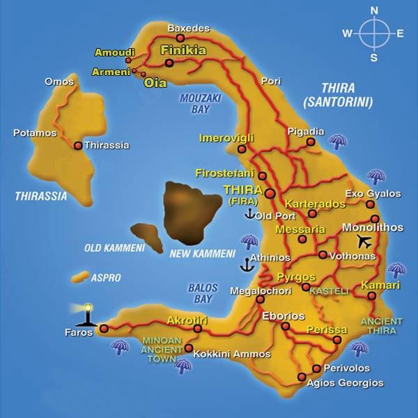 santorini villages - map