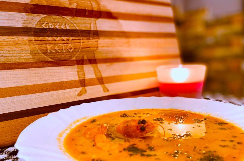 Keto shrimp chowder with the Mediterranean twist