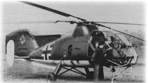 Probably the most advanced helicopter flying during WWII. The FL-282 had contra-rotating Intermeshing blades and required no tail rotor as directional stability and manoeverability was provided by differential pitch control to the two rotor systems