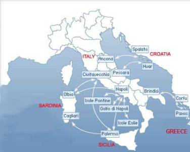 Snav Ferries Routes Map Snav Ferries routes map  Italy domestic  Italy Croatia Greece       For  Reservation
