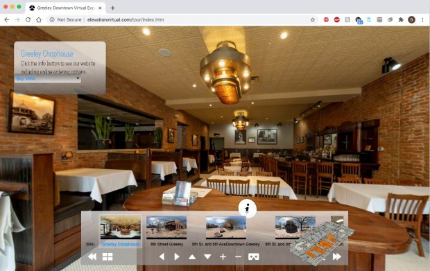 A photo of the inside of the Greeley Chophouse, 804 8th St., Greeley, part of a panoramic online virtual tour of downtown Greeley, created by Paul Royle-Grimes of Elevation Aerial Photography and Drone Services. (Courtesy of elevationvirtual.com/tour/index.htm)