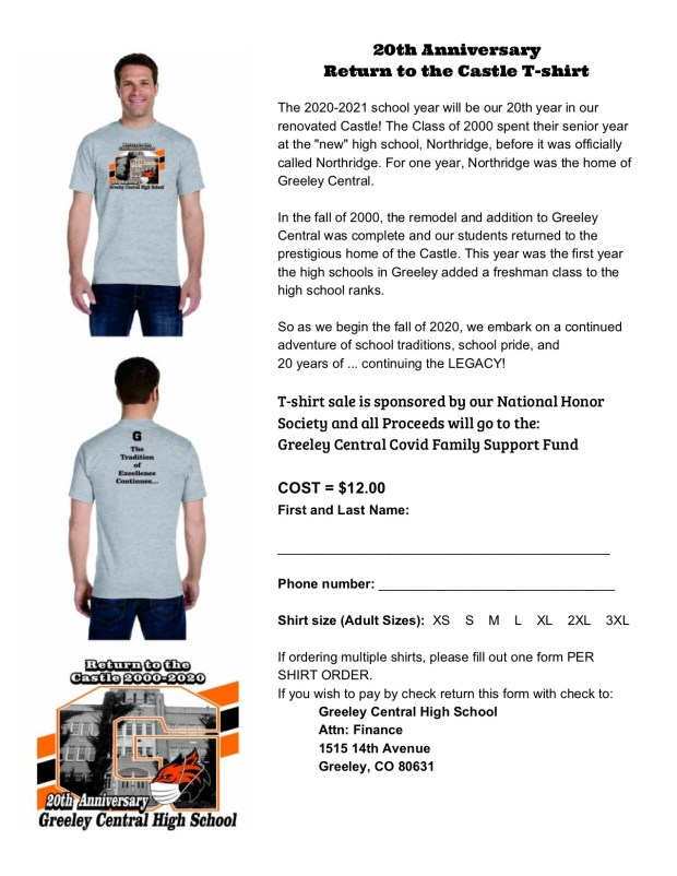 Greeley Central 20th anniversary t-shirt