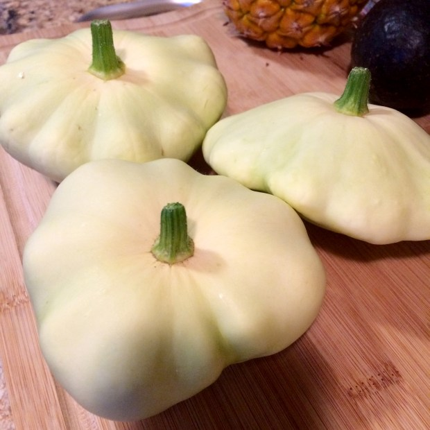 Pattypan squash freshly harvested from a garden in Evans, Colorado.