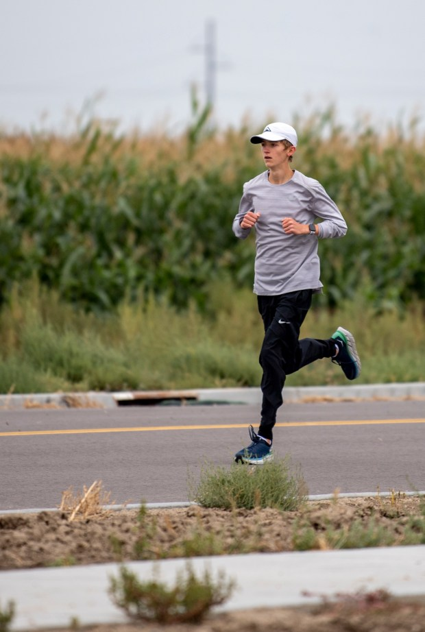 SEVERANCE, CO - SEPTEMBER 10:Caden Schweer, a freshman cross country runner for the Severance Silver Knights, runs during practice at Severance High School in Severance Sept. 10, 2020. (Alex McIntyre/Staff Photographer)