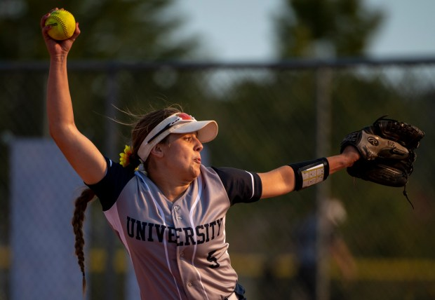 GREELEY, CO - SEPTEMBER 03:University pitcher Keylee Kern pitches during a softball game between the University Bulldogs and the Sterling Tigers at Twin Rivers Ball Fields in Greeley Sept. 3, 2020. The Tigers defeated the Bulldogs 6-4. (Alex McIntyre/Staff Photographer)