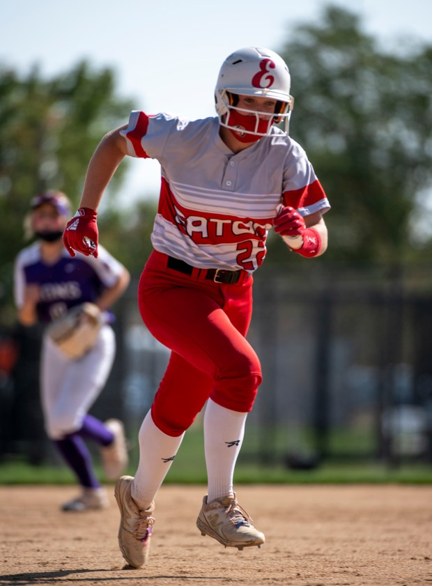 AURORA, CO - OCTOBER 10:Eaton's Sadie Ross (22) nears third base on her way to home plate after being batted in by Eaton's Yaritza Puente (27) during the Class 3A Softball State Championship between the Eaton Reds and the Lutheran Lions at Aurora Sports Park in Aurora Oct. 10, 2020. The Eaton Reds defeated the Lutheran Lions 5-1 to claim the state title. (Alex McIntyre/Staff Photographer)