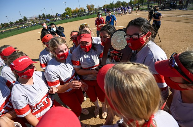 AURORA, CO - OCTOBER 10:The Eaton Reds celebrate after winning the Class 3A Softball State Championship between the Eaton Reds and the Lutheran Lions at Aurora Sports Park in Aurora Oct. 10, 2020. The Eaton Reds defeated the Lutheran Lions 5-1 to claim the state title. (Alex McIntyre/Staff Photographer)