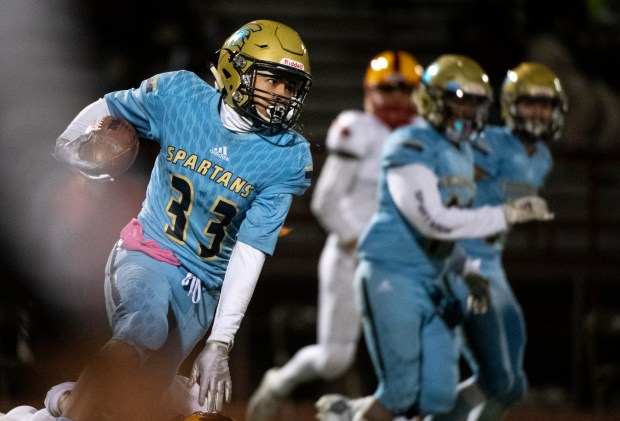 GREELEY, CO - OCTOBER 15:Greeley West's Mario Torres (33) runs on a kick return during the Greeley West Spartans football home opener against the Skyline Falcons at District 6 Stadium in Greeley Oct. 15, 2020. The Spartans fell to the Falcons 67-20. (Alex McIntyre/Staff Photographer)