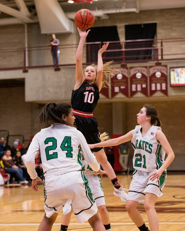 Eaton's Ahana Leffler (10) shoots against the St. Mary's defense March 8, 2019 during the CHSAA 3A State Basketball Tournament in the Hamilton Gym at DU's Richie Center in Denver. The Reds fell, 54-20. (Greeley Tribune file photo)
